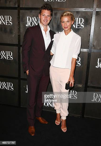 Tristan McManus and Tahyna Tozzi arrive at the David Jones A/W 2014 Collection Launch at the David Jones Elizabeth Street Store on January 29 2014 in...