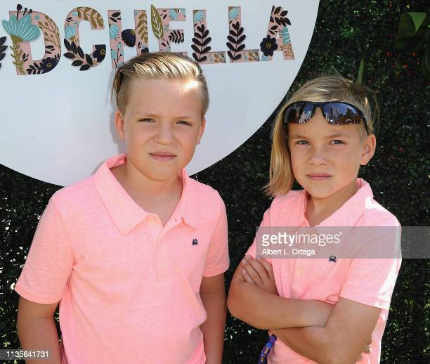 Tristan Meyers and Marek Meyers arrive for Clubhouse Kidchella held at Pershing Square on April 6 2019 in Los Angeles California