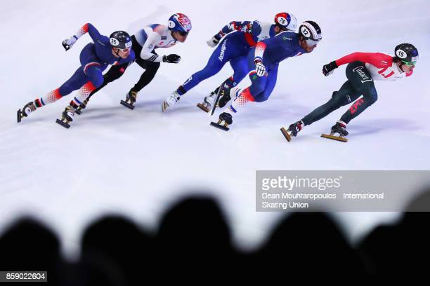 Tristan Navarro of France Yi Ra Seo of Korea Denis Ayrapetyan of Russia Thibaut Fauconnet of France and Charle Cournoyer of Canda compete in the Mens...