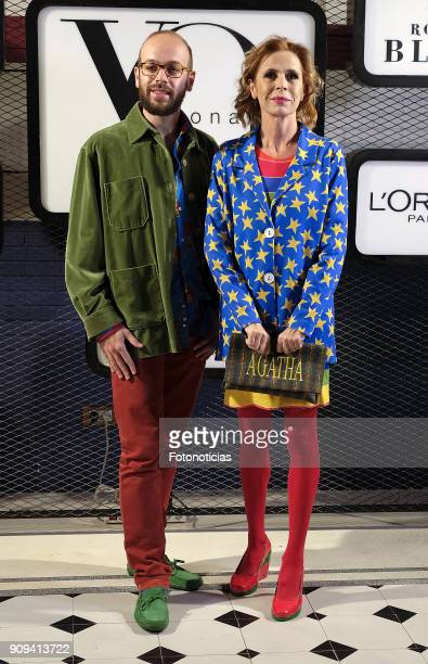 Tristan Ramirez and Agatha Ruiz de la Prada attends the 'Yo Dona Fashion Party' at the Only You Hotel on January 23 2018 in Madrid Spain