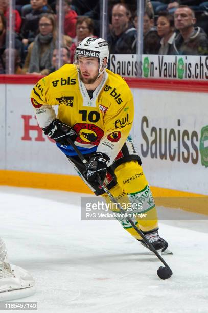 Tristan Scherwey of SC Bern in action during the Swiss National League game between Lausanne HC and SC Bern at Vaudoise Arena on November 1, 2019 in...