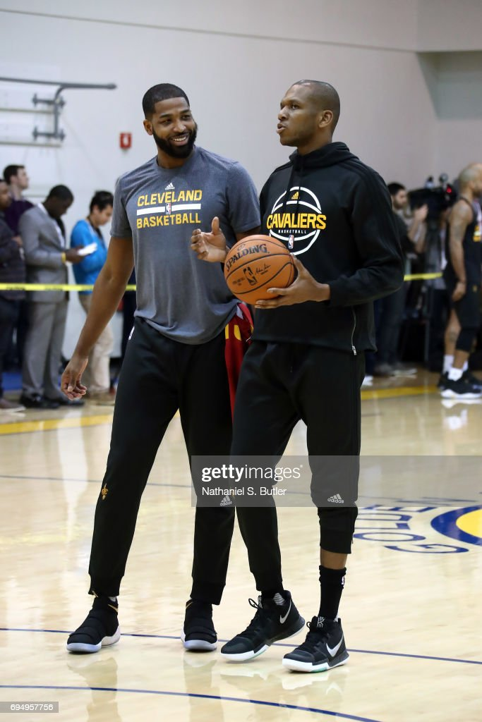 8b04b2ef2df Tristan Thompson and James Jones of the Cleveland Cavaliers during ...