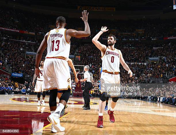 Tristan Thompson and Kevin Love of the Cleveland Cavaliers celebrate against the Golden State Warriors in Game Six of the 2016 NBA Finals on June 16,...