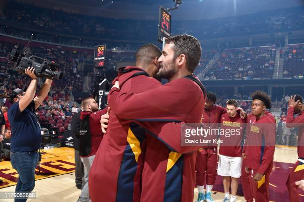 Tristan Thompson and Kevin Love of the Cleveland Cavaliers hugs each other before the game against the Chicago Bulls on October 30 2019 at Rocket...