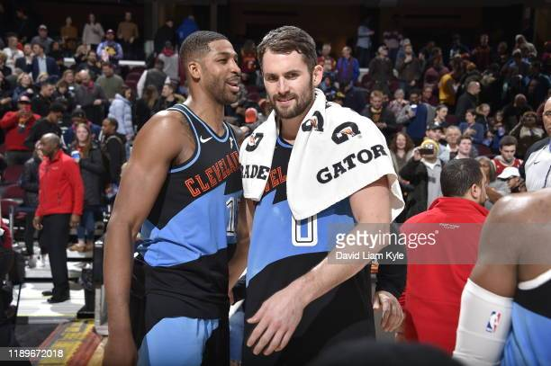 Tristan Thompson and Kevin Love of the Cleveland Cavaliers talk after a game against the Memphis Grizzlies on December 20 2019 at Rocket Mortgage...