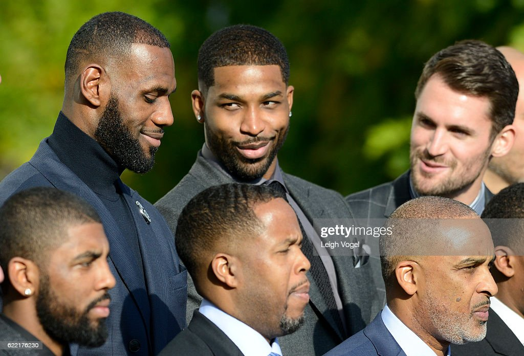 Tristan Thompson and Kevin Love speak to LeBron James as President Obama welcomes the 2016 NBA Champions Cleveland Cavaliers to The White House on November 10, 2016 in Washington, DC.