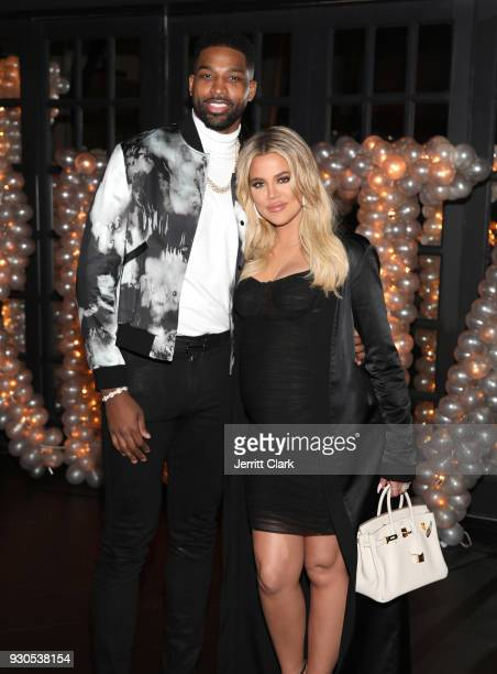 Tristan Thompson and Khloe Kardashian pose for a photo as Remy Martin celebrates Tristan Thompson's Birthday at Beauty Essex on March 10 2018 in Los...