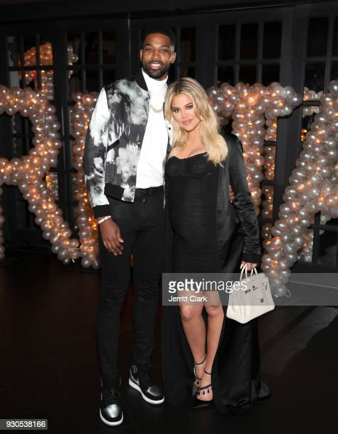 Tristan Thompson and Khloe Kardashian pose for a photo as Remy Martin celebrates Tristan Thompson's Birthday at Beauty & Essex on March 10, 2018 in...