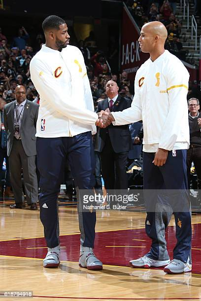 Tristan Thompson and Richard Jefferson of the Cleveland Cavaliers shake hands before the game against the New York Knicks on October 25 2016 at...