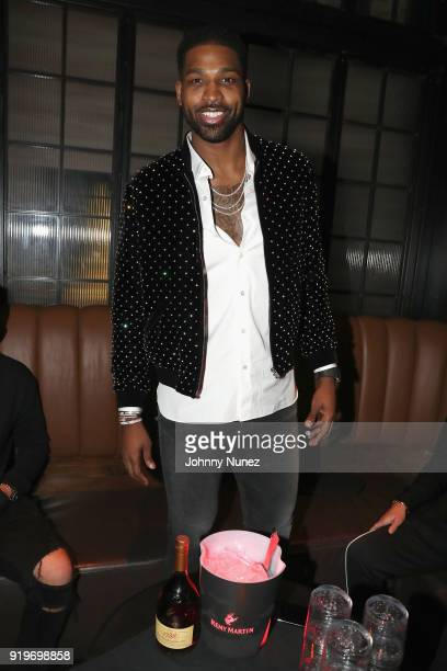 Tristan Thompson attends Remy Martin Viewing Party at Luchini Pizzeria and Bar on February 17 2018 in Los Angeles California