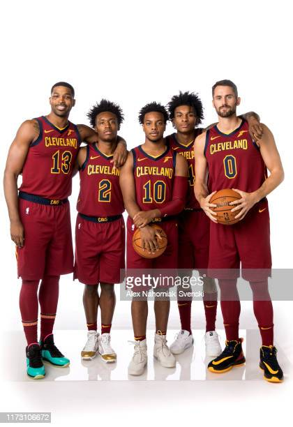Tristan Thompson Collin Sexton Darius Garland Kevin Porter Jr #4 and Kevin Love of the Cleveland Cavaliers poses for a portrait on September 30 2019...