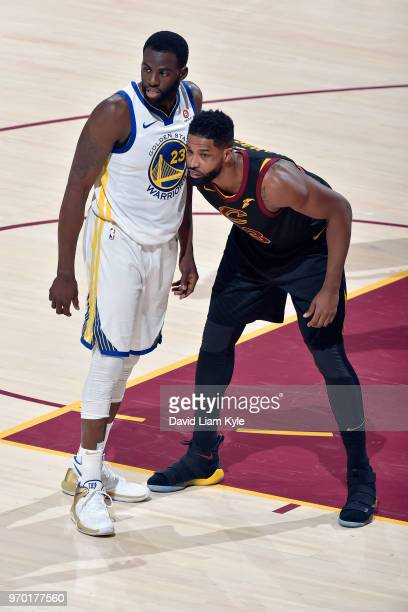 OH Tristan Thompson of the Cleveland Cavaliers and Draymond Green of the Golden State Warriors jocks for a position during Game Four of the 2018 NBA...