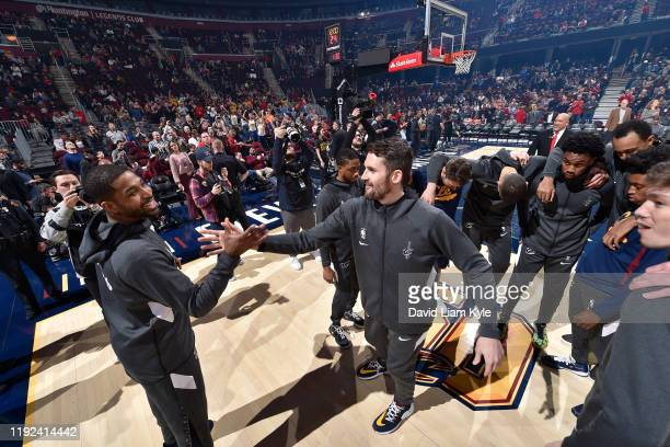 Tristan Thompson of the Cleveland Cavaliers and Kevin Love of the Cleveland Cavaliers highfive prior to a game against the Detroit Pistons on January...