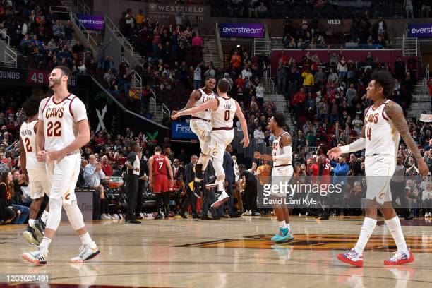 Tristan Thompson of the Cleveland Cavaliers and Kevin Love of the Cleveland Cavaliers reacts to play against the Miami Heat on February 24 2020 at...