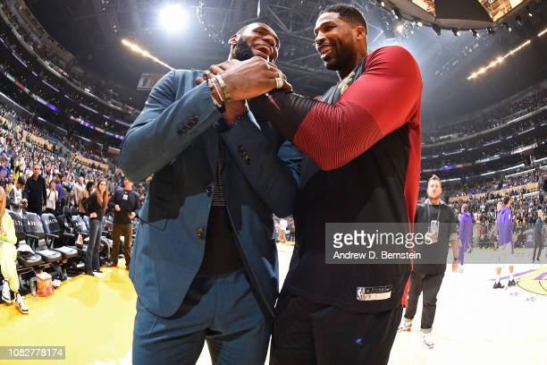Tristan Thompson of the Cleveland Cavaliers and LeBron James of the Los Angeles Lakers talk before the game on January 13 2019 at STAPLES Center in...