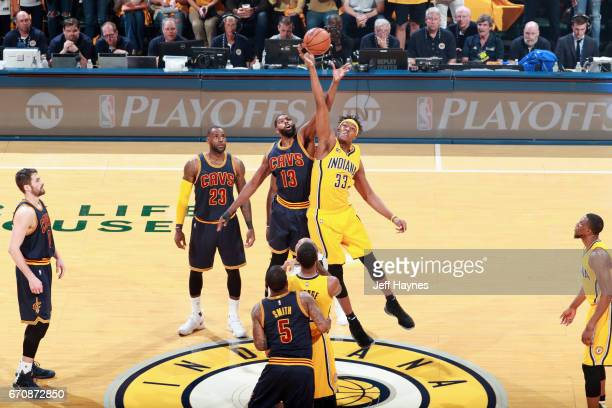Tristan Thompson of the Cleveland Cavaliers and Myles Turner of the Indiana Pacers tipoff during Game Three of the Eastern Conference Quarterfinals...