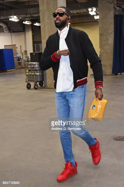 Tristan Thompson of the Cleveland Cavaliers arrives at Chesapeake Energy Arena before the game against the Oklahoma City Thunder on February 9 2017...