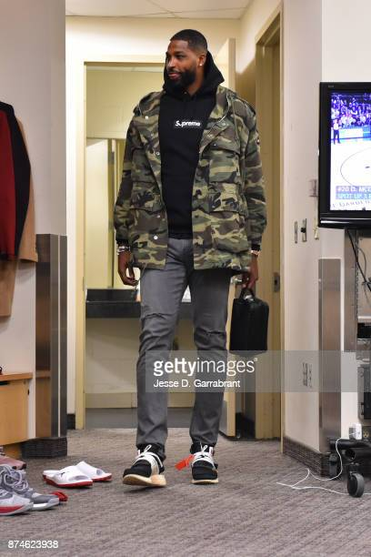 Tristan Thompson of the Cleveland Cavaliers arrives at Madison Square Garden before the game against the New York Knicks on November 13 2017 in New...