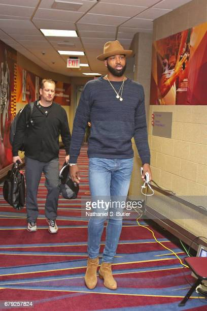 Tristan Thompson of the Cleveland Cavaliers arrives at the arena before Game Two of the Eastern Conference Semifinals against the Toronto Raptors...