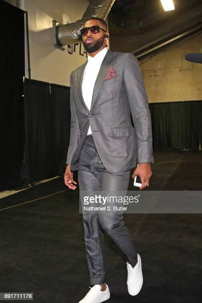 Tristan Thompson of the Cleveland Cavaliers arrives at the arena before Game One of the 2017 NBA Finals against the Golden State Warriors on June 1...