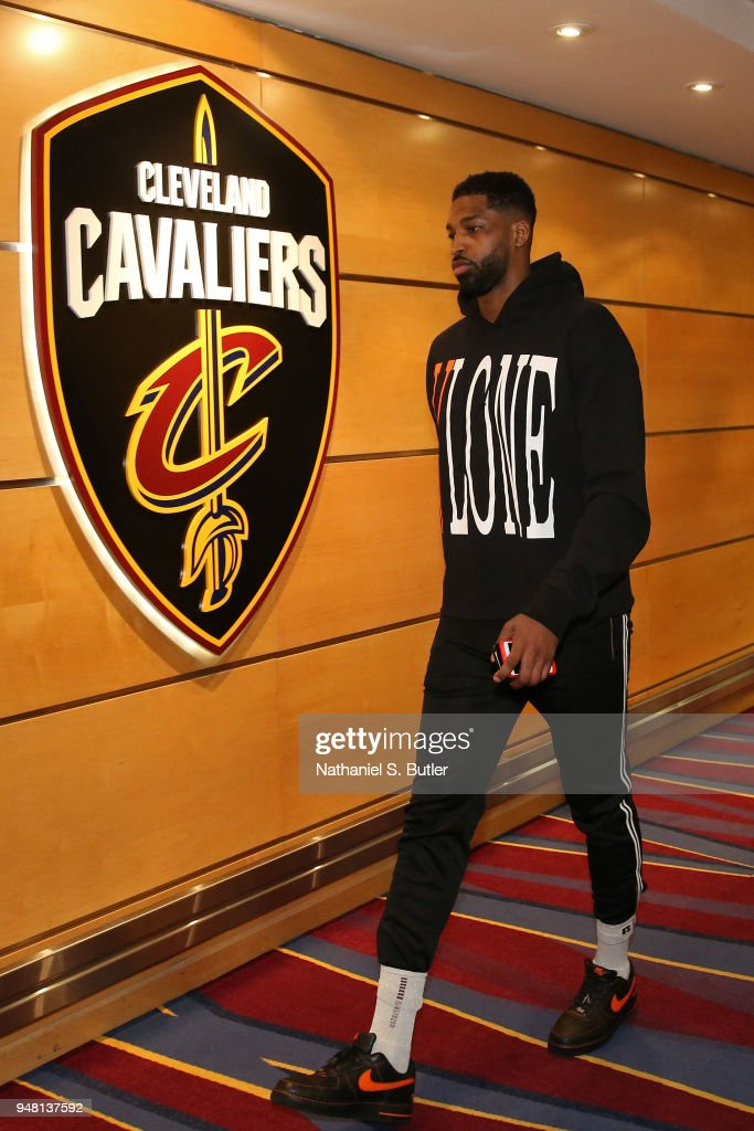 Tristan Thompson #13 of the Cleveland Cavaliers arrives at the arena before Game One of Round One of the 2018 NBA Playoffs against the Indiana Pacers on April 15, 2018 at Quicken Loans Arena in Cleveland, Ohio.