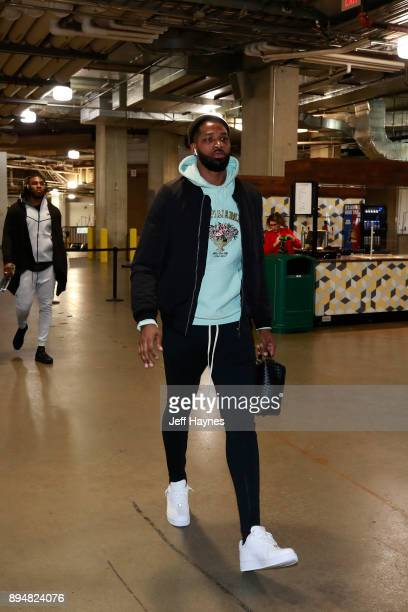 Tristan Thompson of the Cleveland Cavaliers arrives at the arena before the game against the Indiana Pacers on December 8 2017 at Bankers Life...