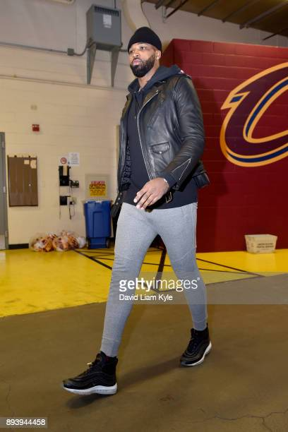 Tristan Thompson of the Cleveland Cavaliers arrives at the arena prior to the game against the Utah Jazz on December 16 2017 at Quicken Loans Arena...