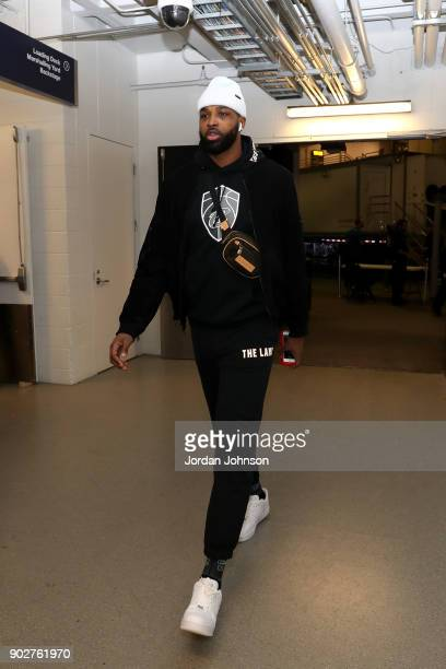 Tristan Thompson of the Cleveland Cavaliers arrives at the stadium before the game against Minnesota Timberwolves on January 8 2018 at Target Center...