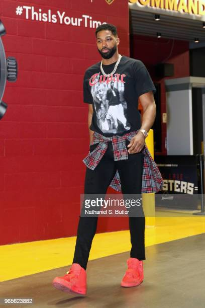 Tristan Thompson of the Cleveland Cavaliers arrives at the stadium before the game against the Boston Celtics during Game Six of the Eastern...