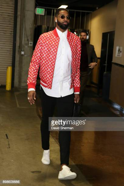 Tristan Thompson of the Cleveland Cavaliers arrives before game against the Golden State Warriors on December 25 2017 at ORACLE Arena in Oakland...