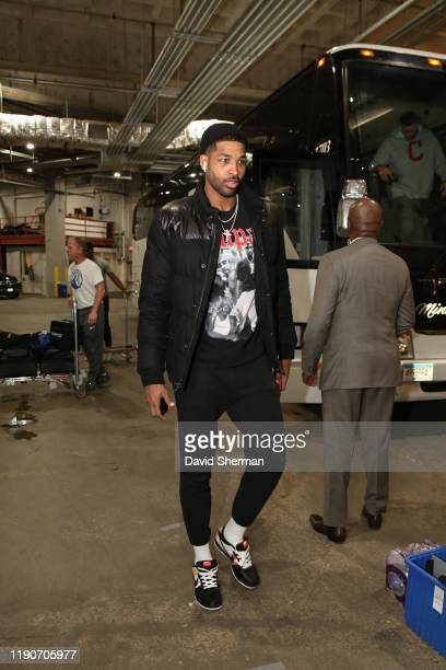 Tristan Thompson of the Cleveland Cavaliers arrives before the game against the Minnesota Timberwolves on December 28 2019 at Target Center in...