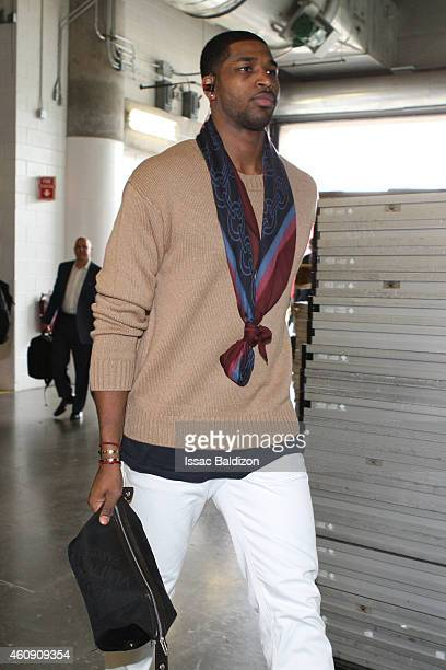 Tristan Thompson of the Cleveland Cavaliers arrives before the game against the Miami Heat at the American Airlines Arena on December 25 2014 in...