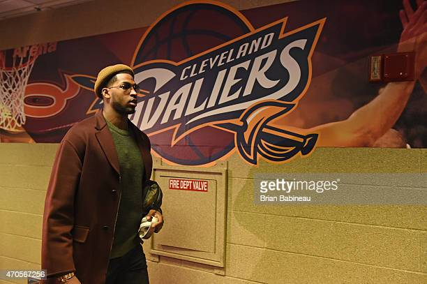 Tristan Thompson of the Cleveland Cavaliers arrives before the game against the Boston Celtics in Game Two of the Eastern Conference Quarterfinals...