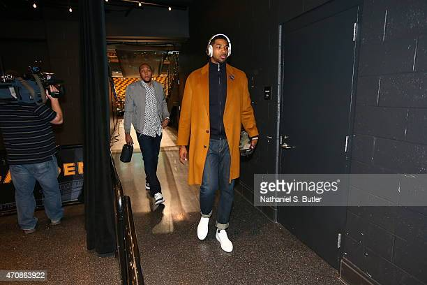 Tristan Thompson of the Cleveland Cavaliers arrives before the game against the Boston Celtics during Game Three of the Eastern Conference...