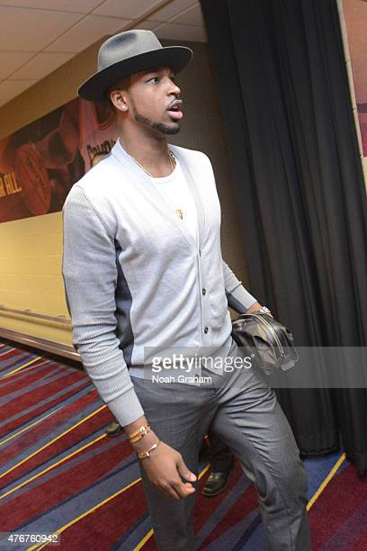 Tristan Thompson of the Cleveland Cavaliers arrives before the game against the Golden State Warriors in Game Four of the 2015 NBA Finals at The...