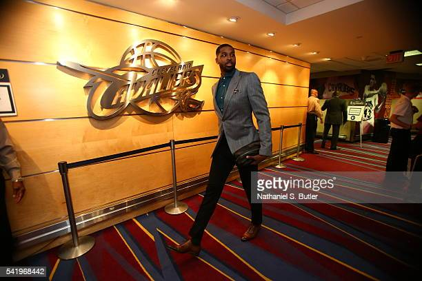 Tristan Thompson of the Cleveland Cavaliers arrives before the game against the Golden State Warriors during Game Six of the 2016 NBA Finals on June...