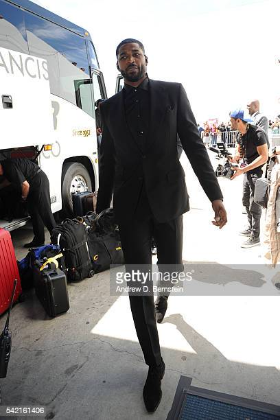 Tristan Thompson of the Cleveland Cavaliers arrives before the game against the Golden State Warriors during the 2016 NBA Finals Game Seven on June...