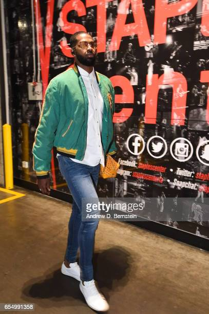 Tristan Thompson of the Cleveland Cavaliers arrives before the game against the LA Clippers on March 18 2017 at STAPLES Center in Los Angeles...