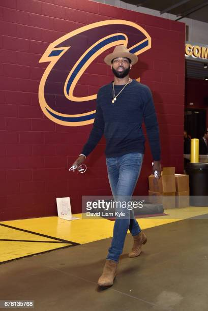 Tristan Thompson of the Cleveland Cavaliers arrives before the game against the Toronto Raptorsduring Game Two of the Eastern Conference Semifinals...