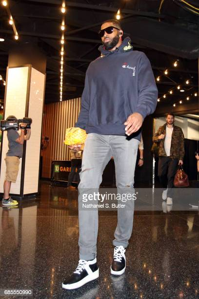 Tristan Thompson of the Cleveland Cavaliers arrives before the game against the Boston Celtics in Game Two of the Eastern Conference Finals during...