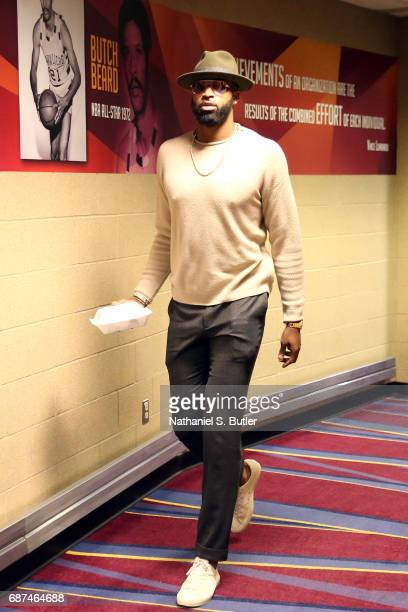 Tristan Thompson of the Cleveland Cavaliers arrives before the game against the Boston Celtics in Game Four of the Eastern Conference Finals during...