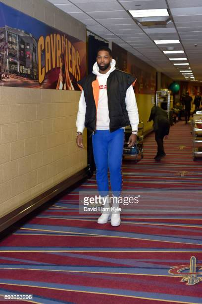 Tristan Thompson of the Cleveland Cavaliers arrives before the game against the Los Angeles Lakers on December 14 2017 at Quicken Loans Arena in...
