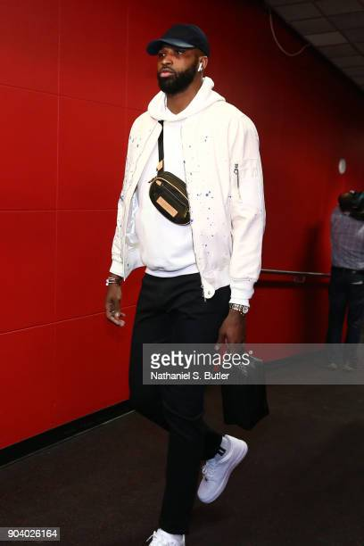 Tristan Thompson of the Cleveland Cavaliers arrives before the game against the Toronto Raptors on January 11 2018 at the Air Canada Centre in...