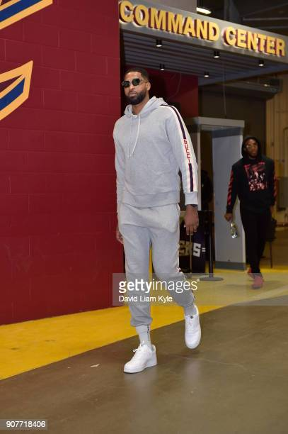 Tristan Thompson of the Cleveland Cavaliers arrives before the game against the Oklahoma City Thunder on January 20 2018 at Quicken Loans Arena in...