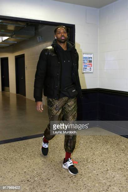 Tristan Thompson of the Cleveland Cavaliers arrives before the game against the Oklahoma City Thunder on February 13 2018 at Chesapeake Energy Arena...