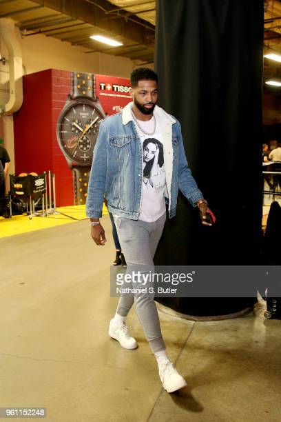Tristan Thompson of the Cleveland Cavaliers arrives before the game against the Boston Celtics during Game Four of the Eastern Conference Finals of...