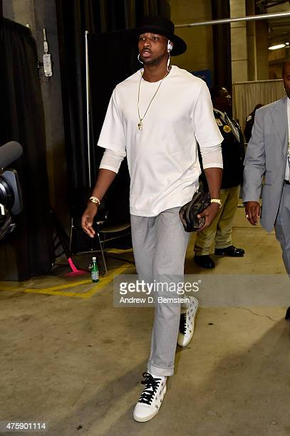 Tristan Thompson of the Cleveland Cavaliers arrives for Game One of the 2015 NBA Finals on June 4 2015 at Oracle Arena in Oakland California NOTE TO...