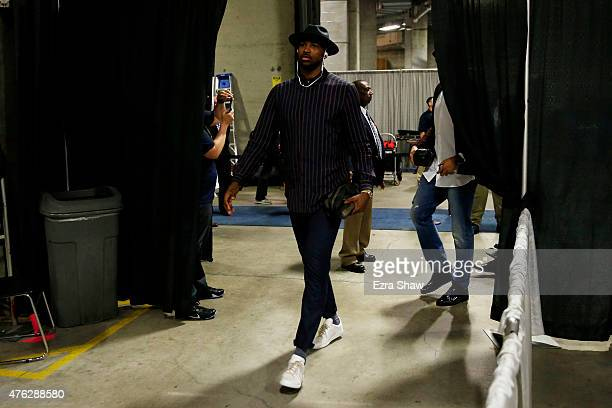 Tristan Thompson of the Cleveland Cavaliers arrives for Game Two of the 2015 NBA Finals against the Golden State Warriors at ORACLE Arena on June 7...
