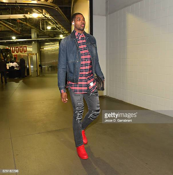 Tristan Thompson of the Cleveland Cavaliers arrives for the game against the Atlanta Hawks during the Eastern Conference Semifinals Game Four on May...