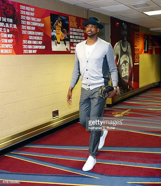 Tristan Thompson of the Cleveland Cavaliers arrives prior to Game Four of the 2015 NBA Finals at The Quicken Loans Arena on June 11 2015 in Cleveland...
